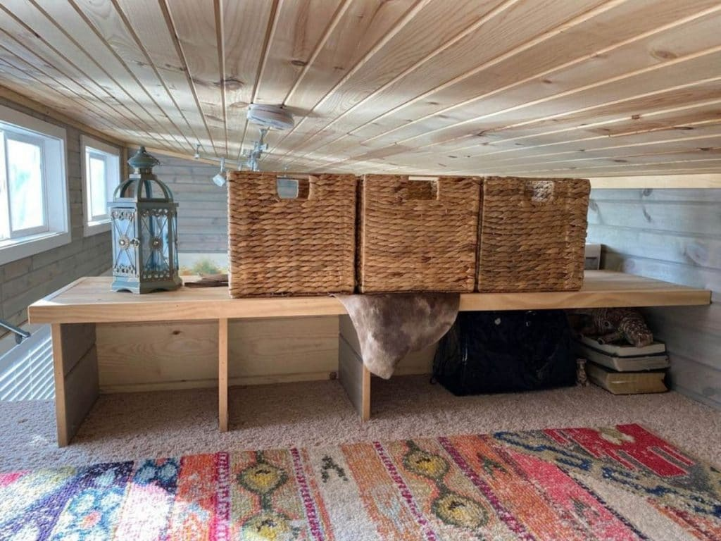 Loft storage in tiny house