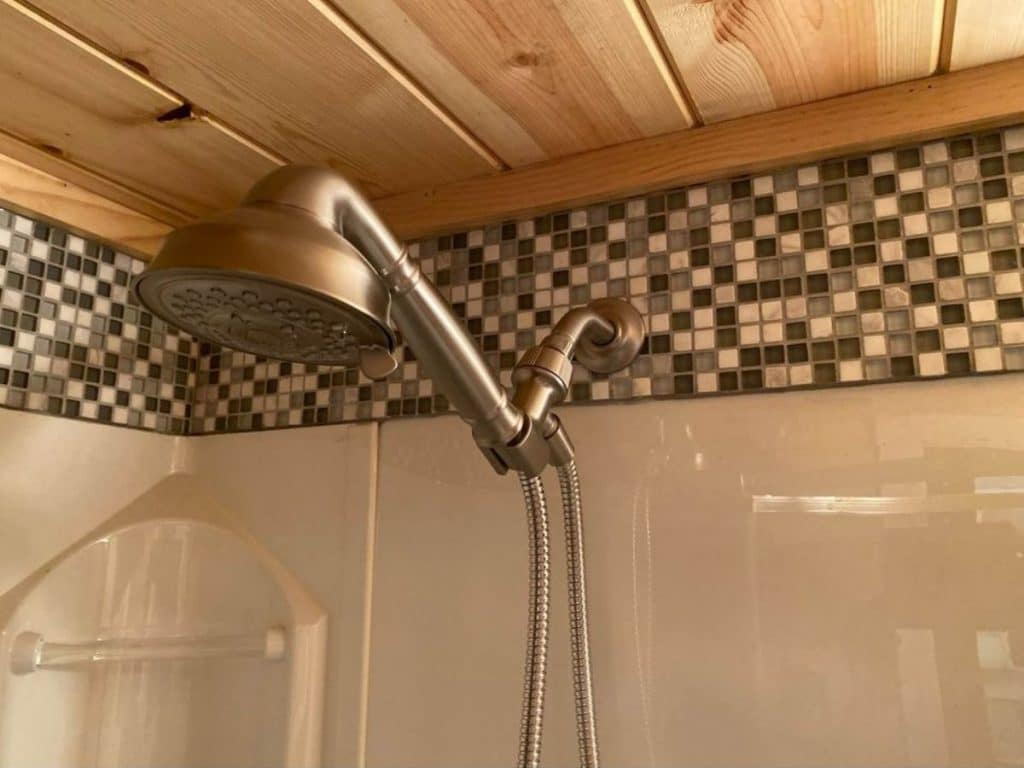 Shower head in tile shower
