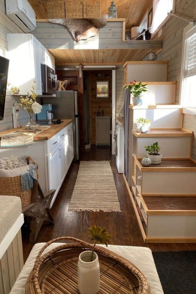 Tiny house living area with stairs