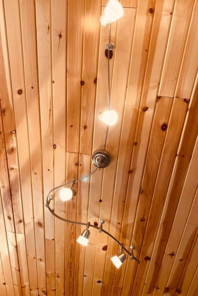 Wood ceiling with lights