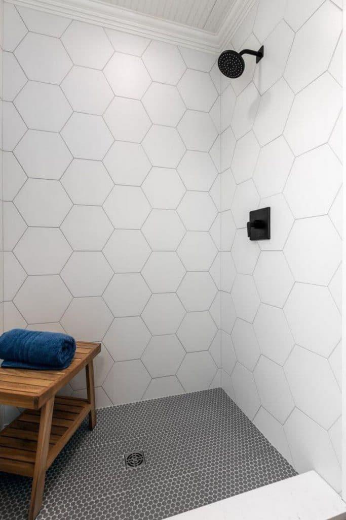 Tiny house tiled shower