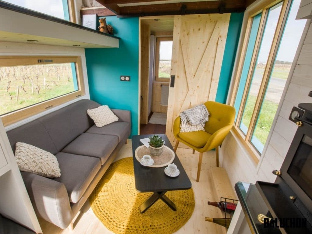 Sofa in the bold tiny house