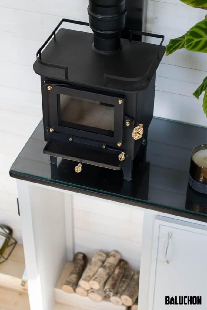 Black wood stove on counter