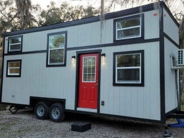 Front of grey tiny house on wheels