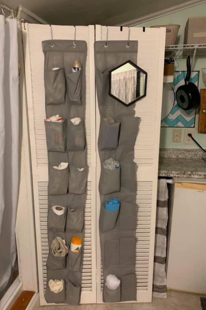 Bathroom door with rack