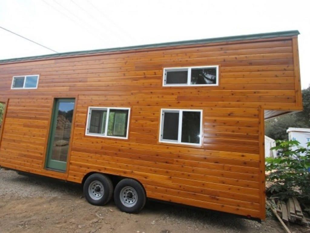 Wood grain tiny house
