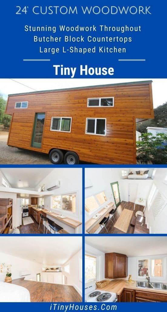 Custom wood tiny home collage