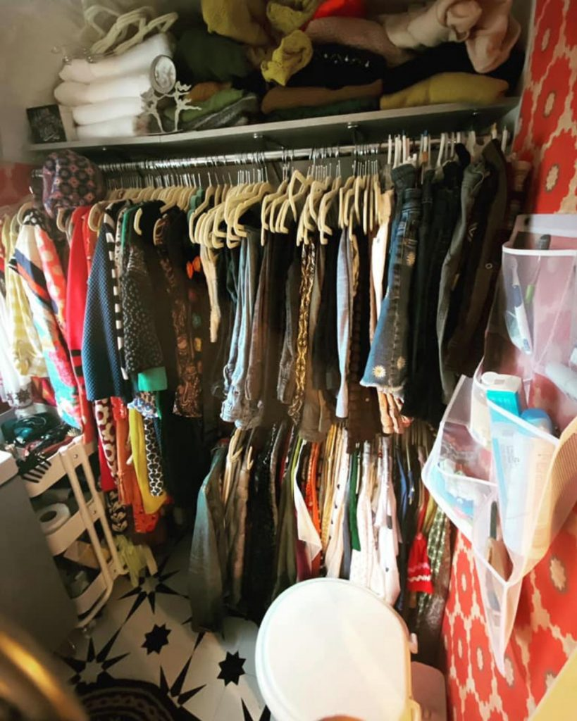 Crowded closet in tiny home