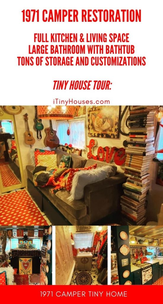 Old camper tiny house conversion collage