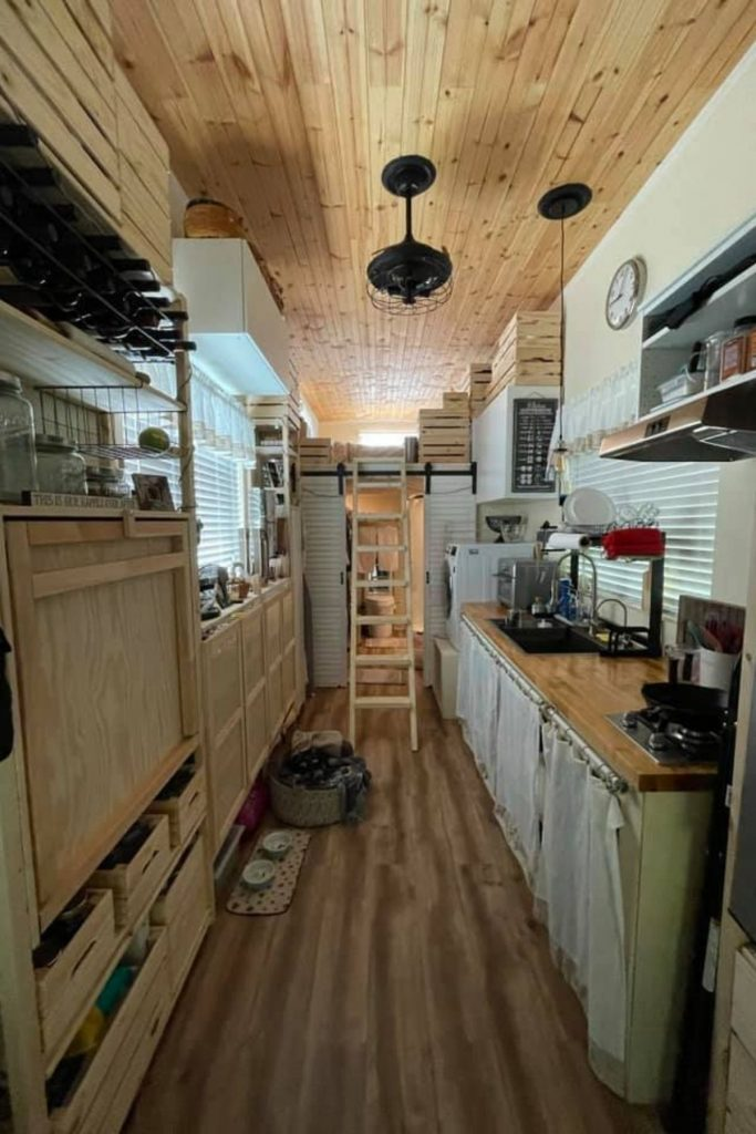 View into tiny house kitchen