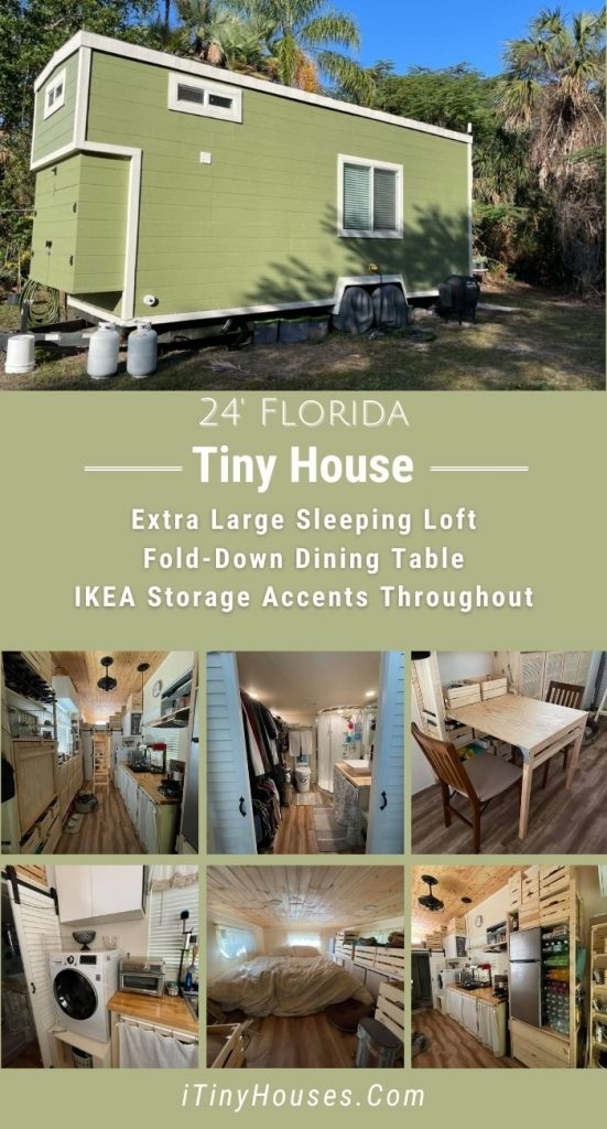 Green tiny house on wheels collage with multiple images