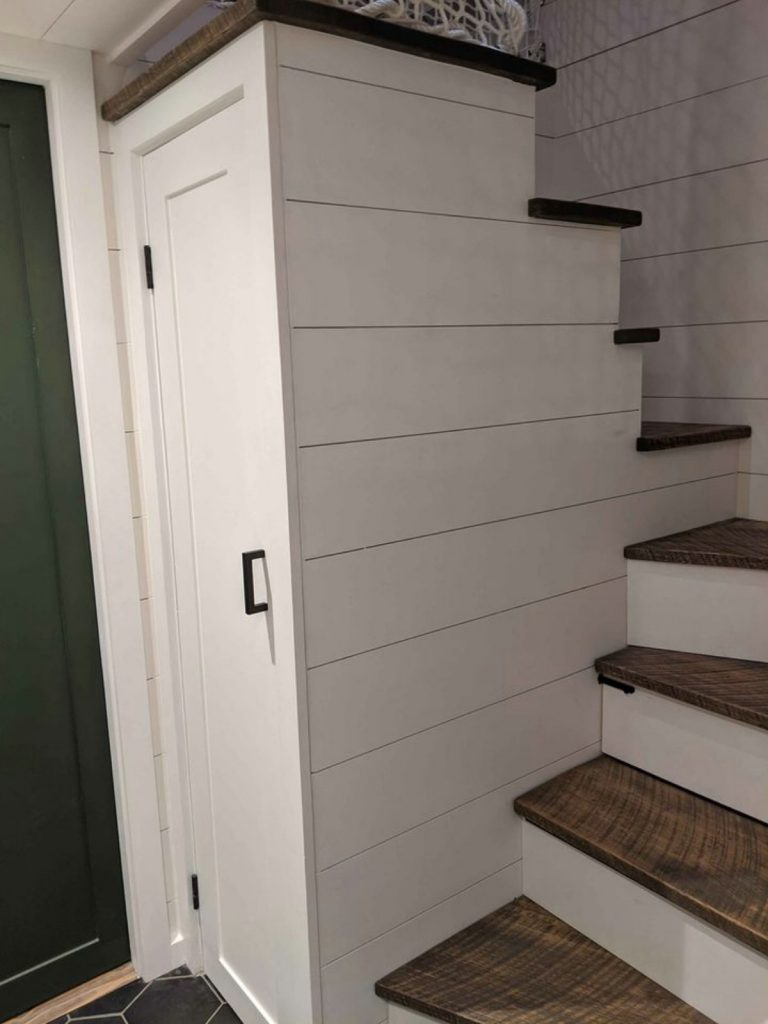 Stairs in tiny house with wood tops