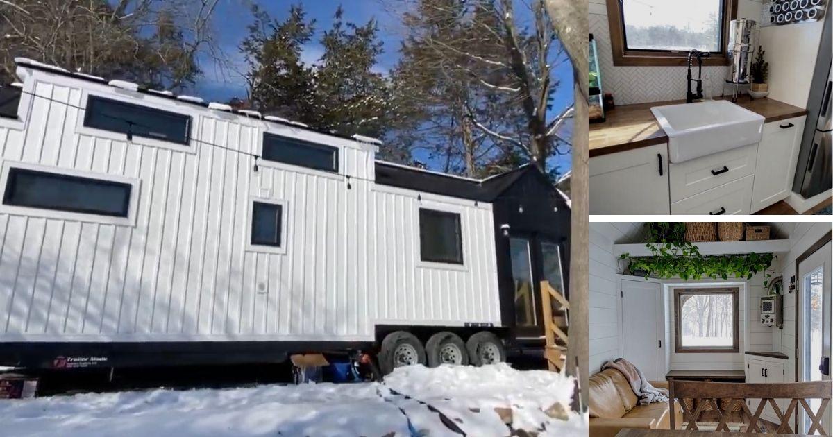 This 36′ Modern Farmhouse on Wheels Includes a Stunning Bathroom