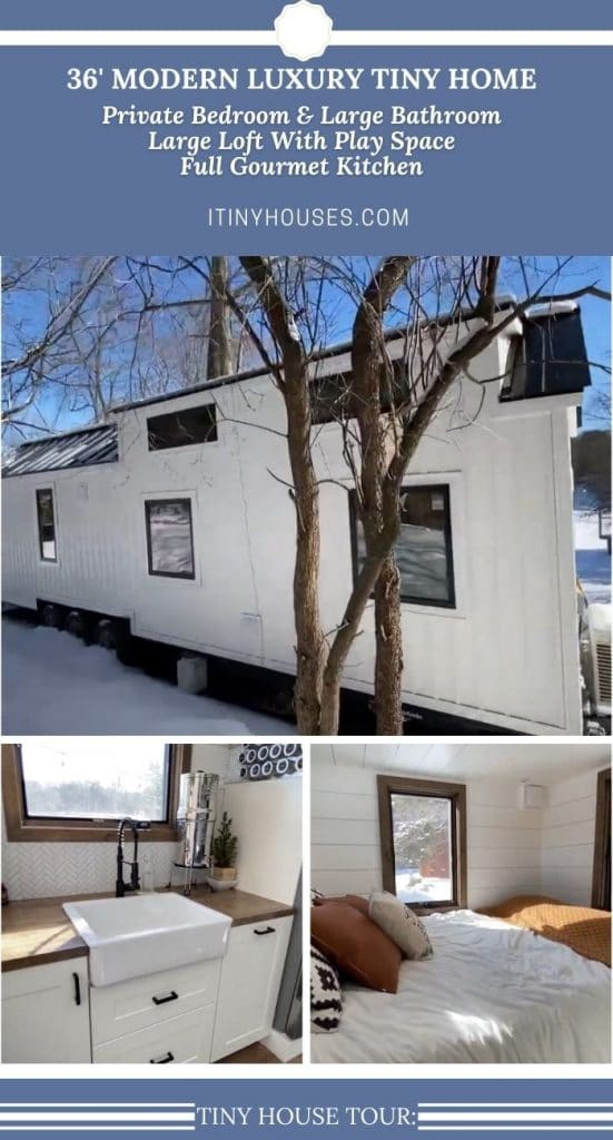 Modern white tiny house with blue trim collage image