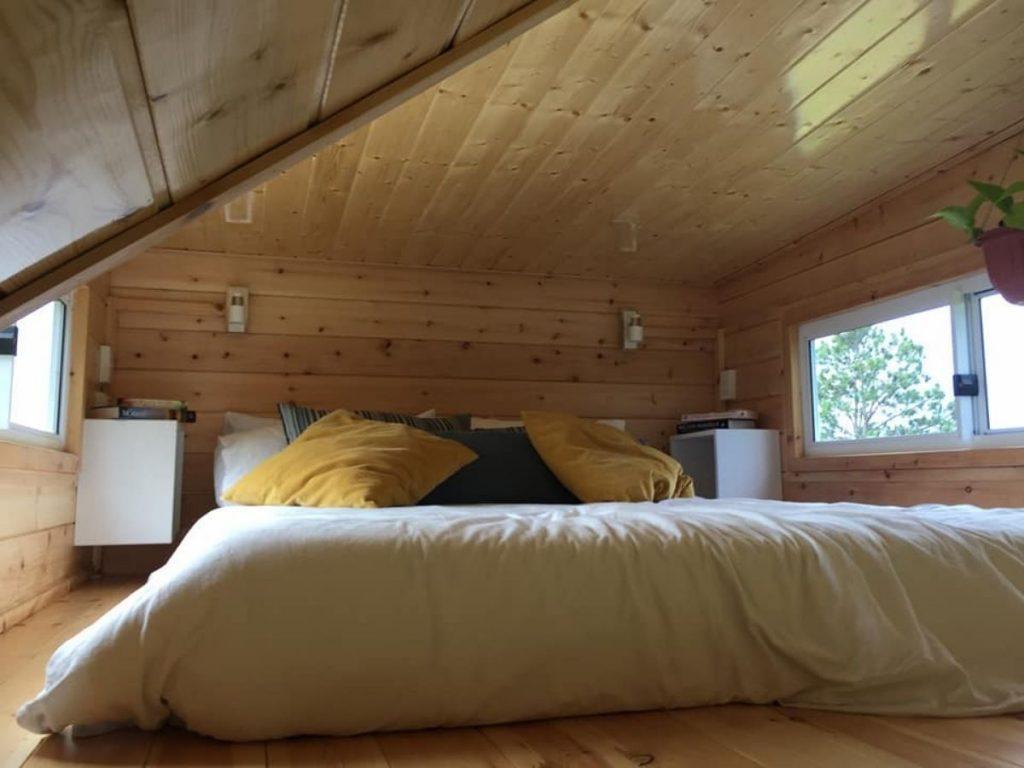 Loft bedroom in tiny house