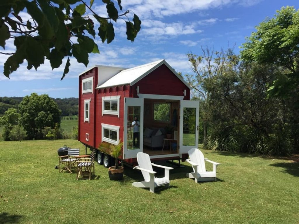 Red tinny house on wheels