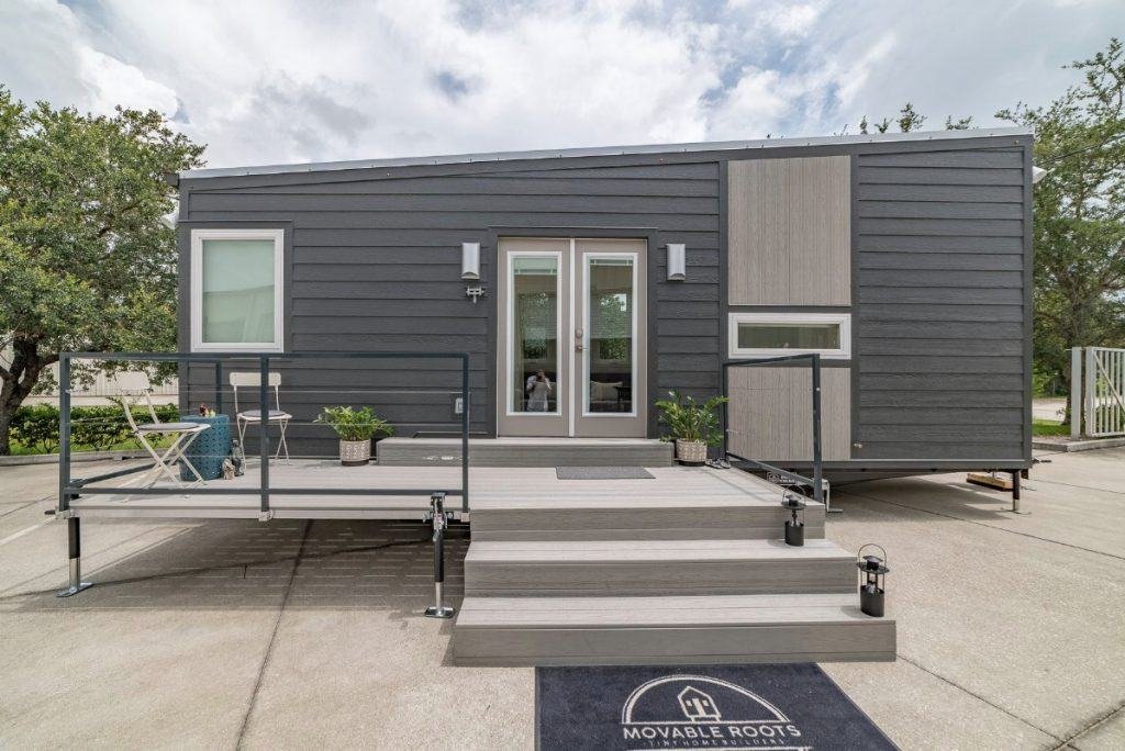 Front of the Boehm tiny house with porch