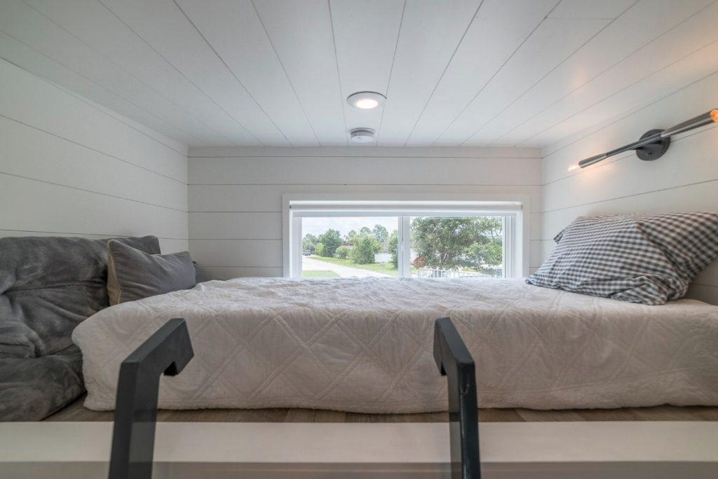 Full sized bed in loft sleeping space
