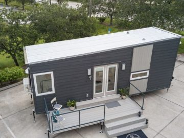 Top of grey tiny house with porch