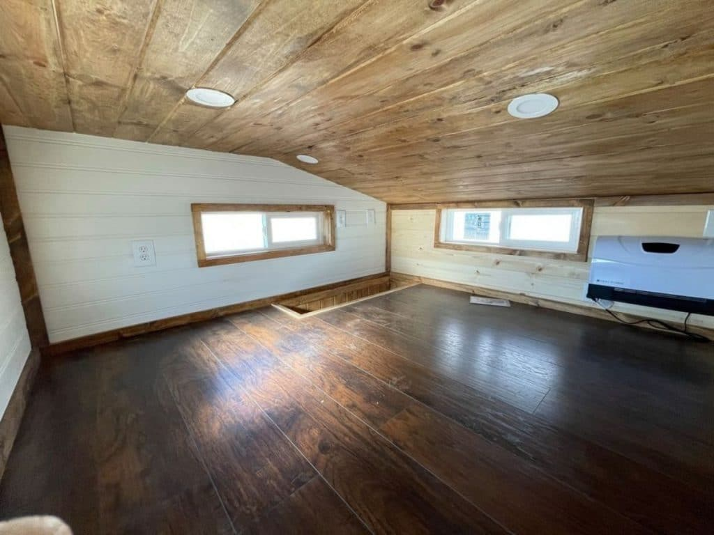 Loft in rustic tiny home