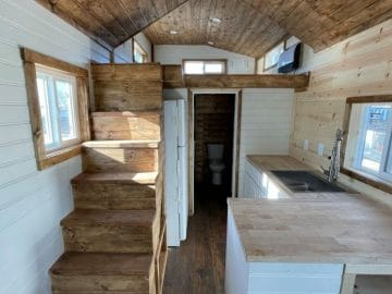 Main floor of rustic tiny home
