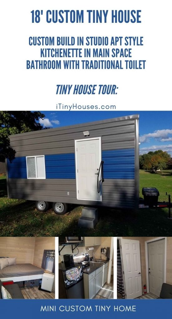 Custom tiny grey and blue house on wheels collage