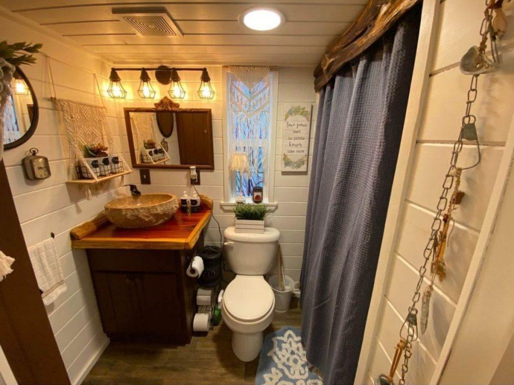 Rabbit hole tiny house bathroom