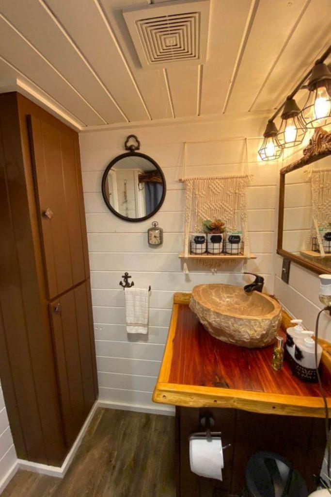 Wood sink in bathroom