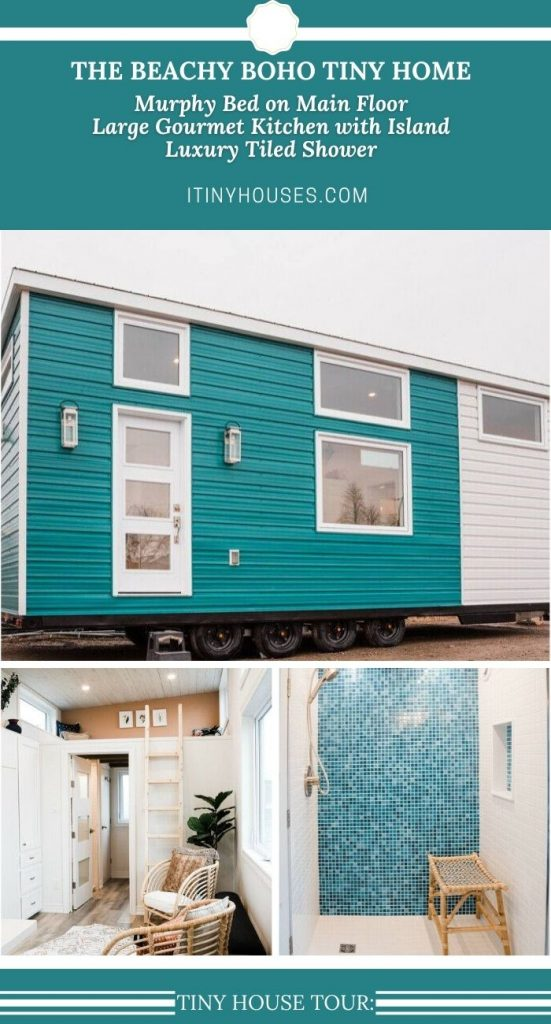 Teal tiny house beachy boho collage image