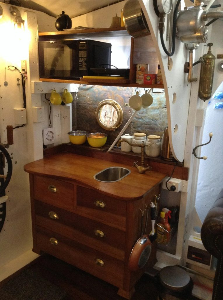 Sink and kitchenette in submarine