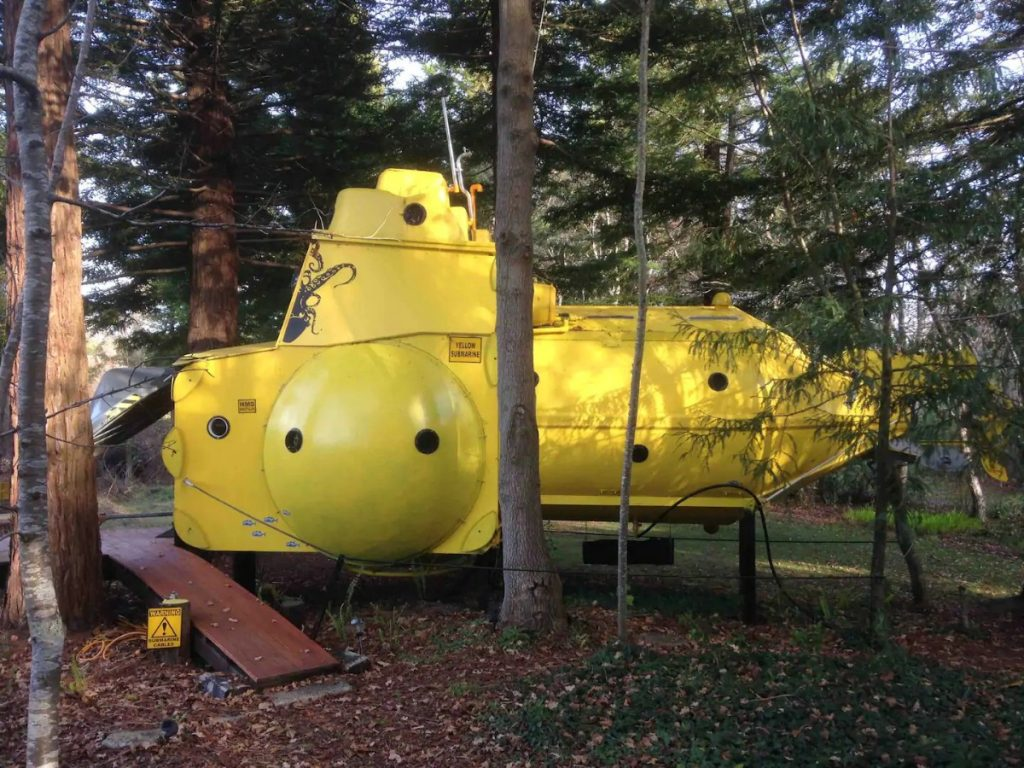 Yellow submarine side in forest