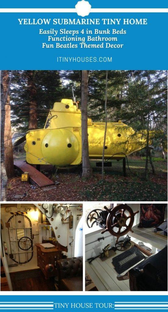 Yellow submarine tiny house collage image