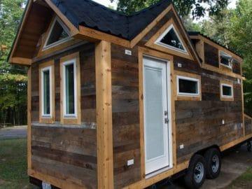 Reclaimed wood tiny house on wheels