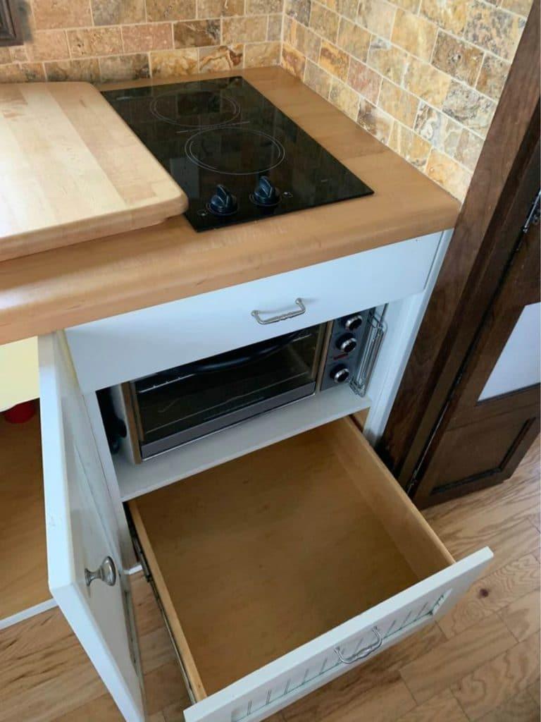 Open drawer in kitchen