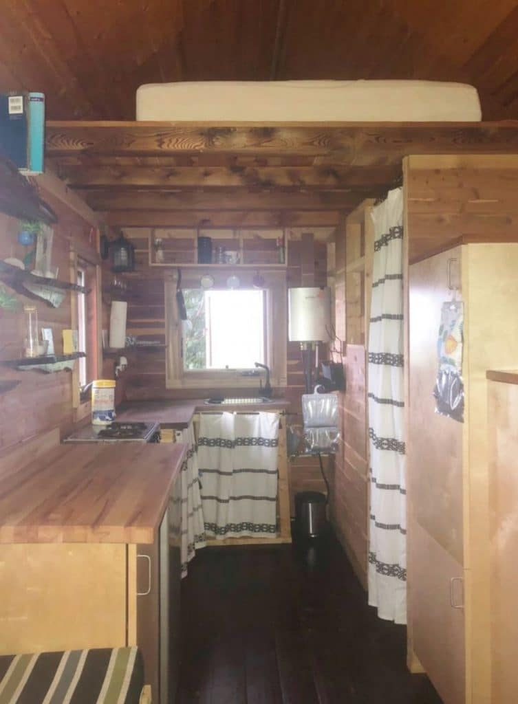 View of kitchen with cedar walls and ceiling