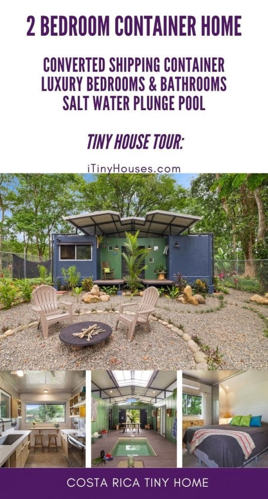 Collage image of shipping container home