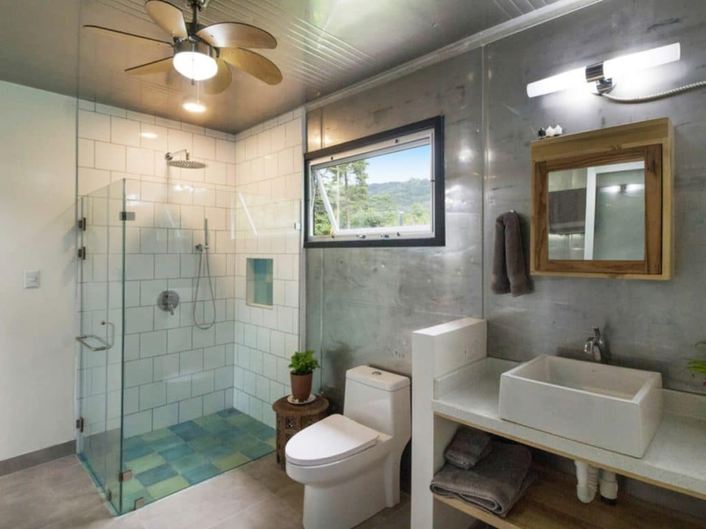 Luxury bathroom with glass open shower