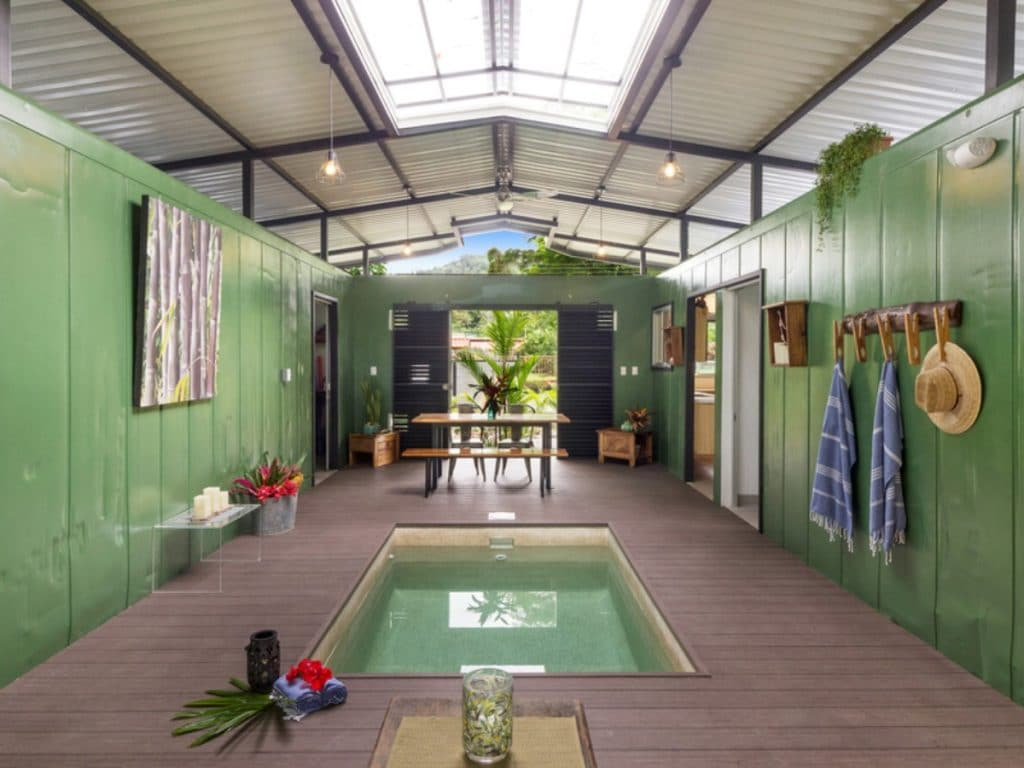 View into center of home with plunge pool