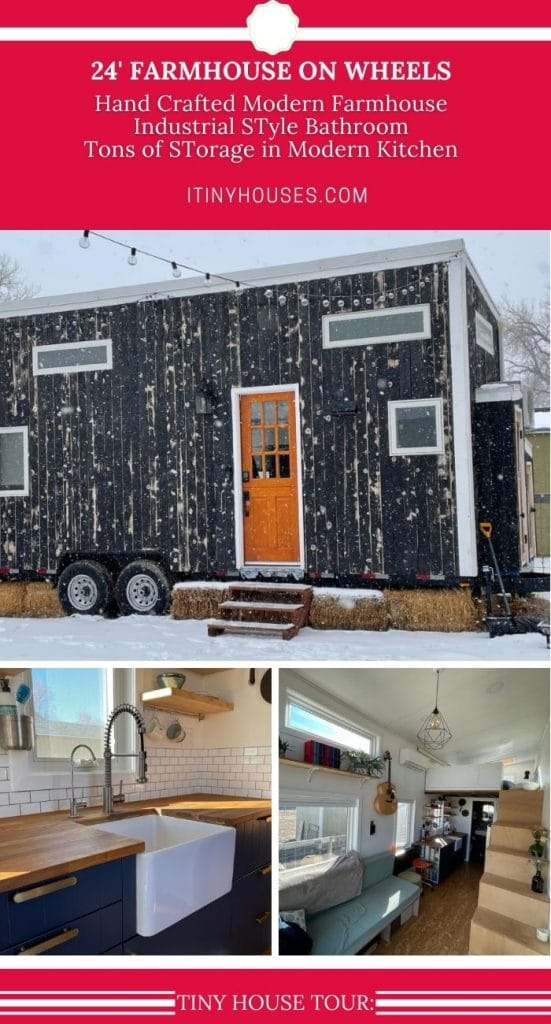 Collage image of blue tiny home