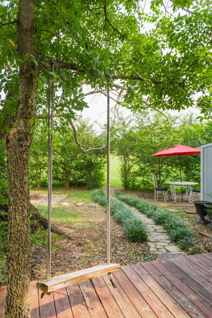 Swing hanging from tree by dock and shrub lined walkway