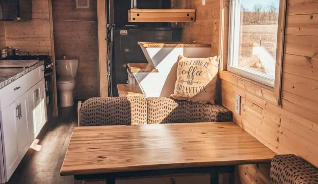 Bench dining seat in tiny home