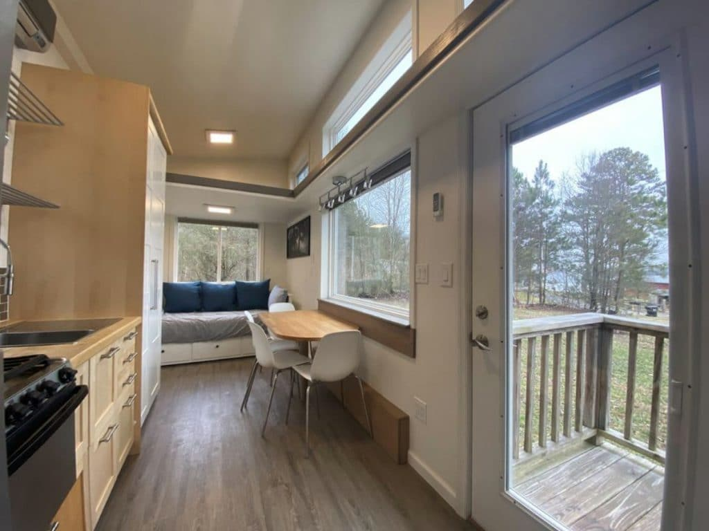 View out front door of tiny home