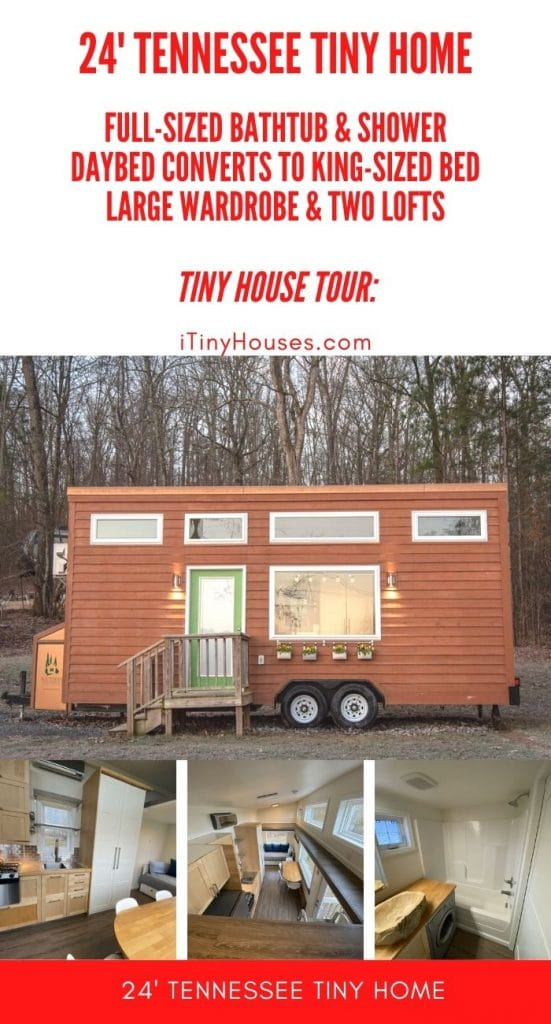 Tiny home collage with red background