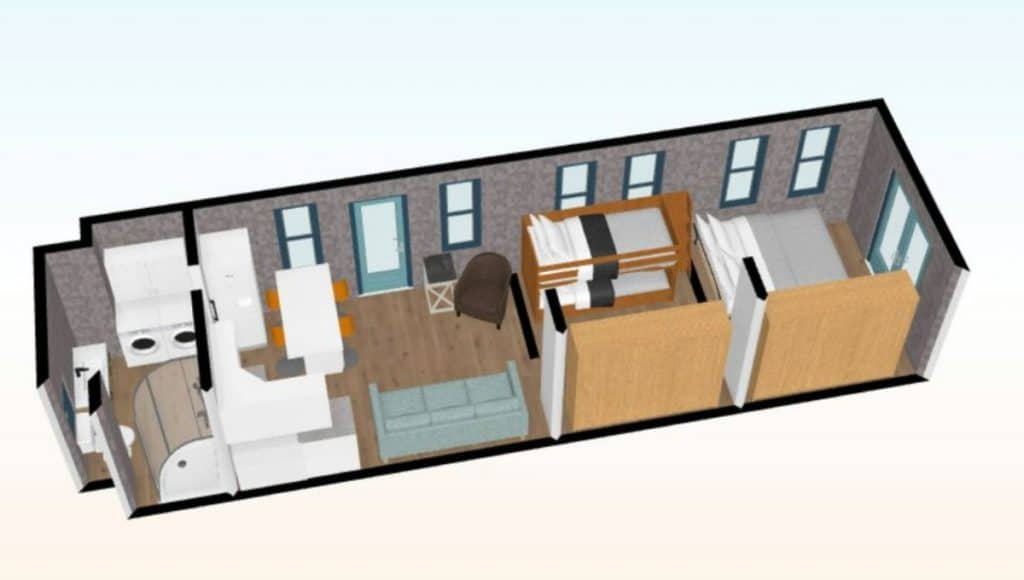 Tiny house graphic with lots of windows