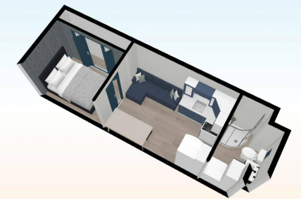 Graphic of tiny house layout