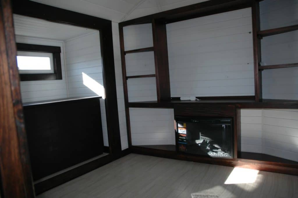 Tiny house entertainment center in open living space