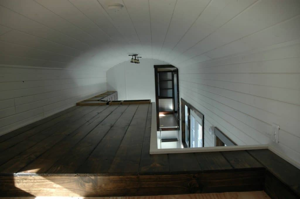 L shaped loft space view over top of home