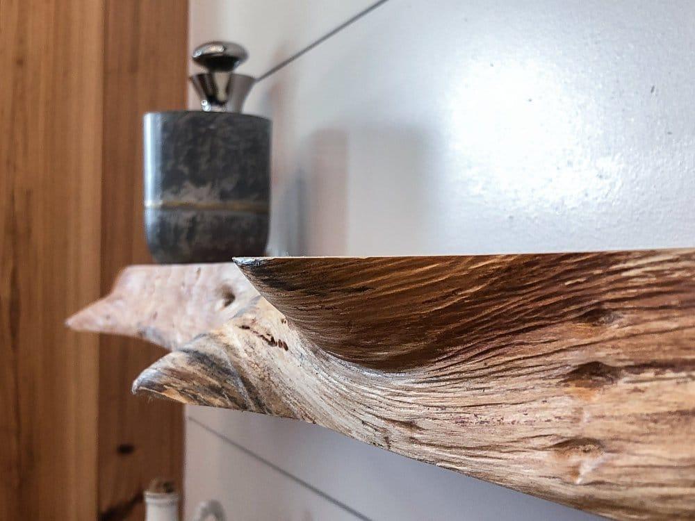 Live edge cedar shelf with plant in mug
