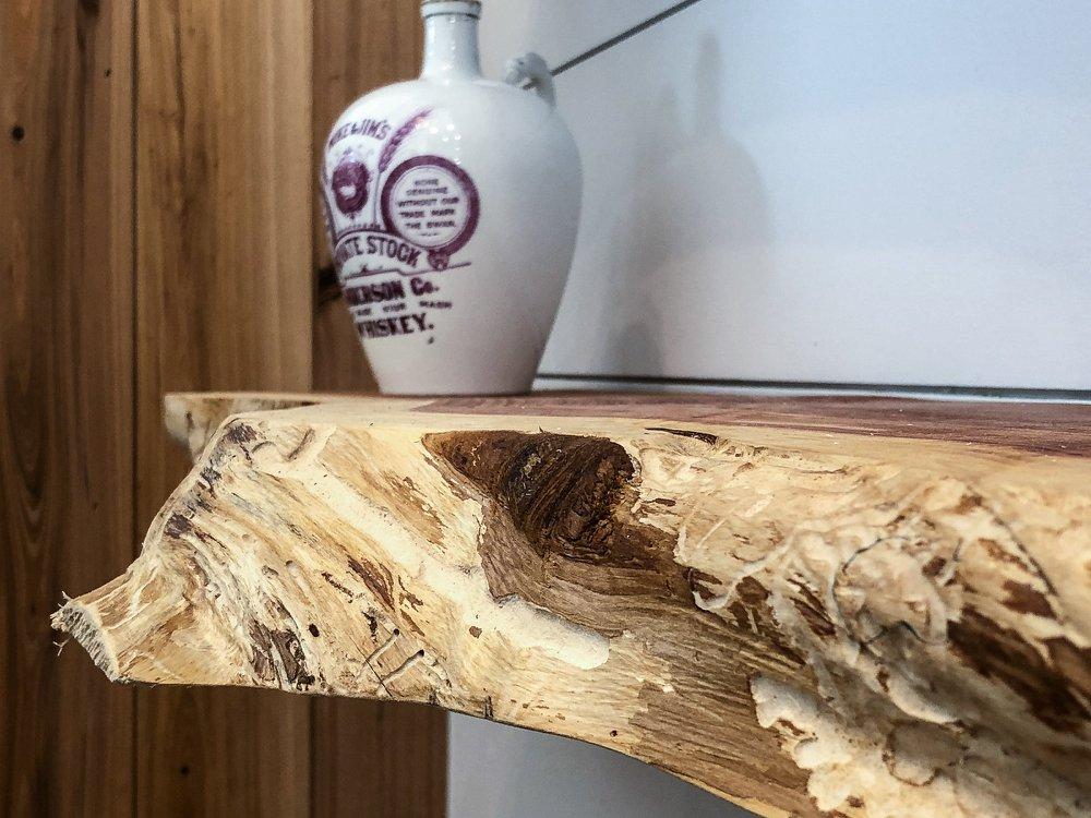 Live edge cedar shelf