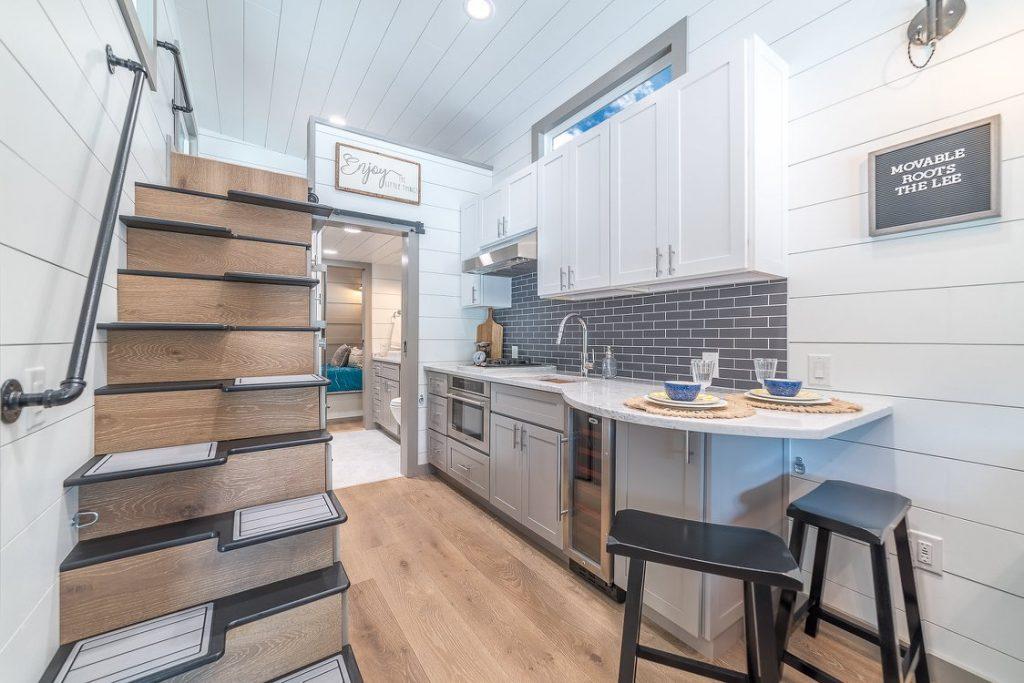 View into tiny house kitchen